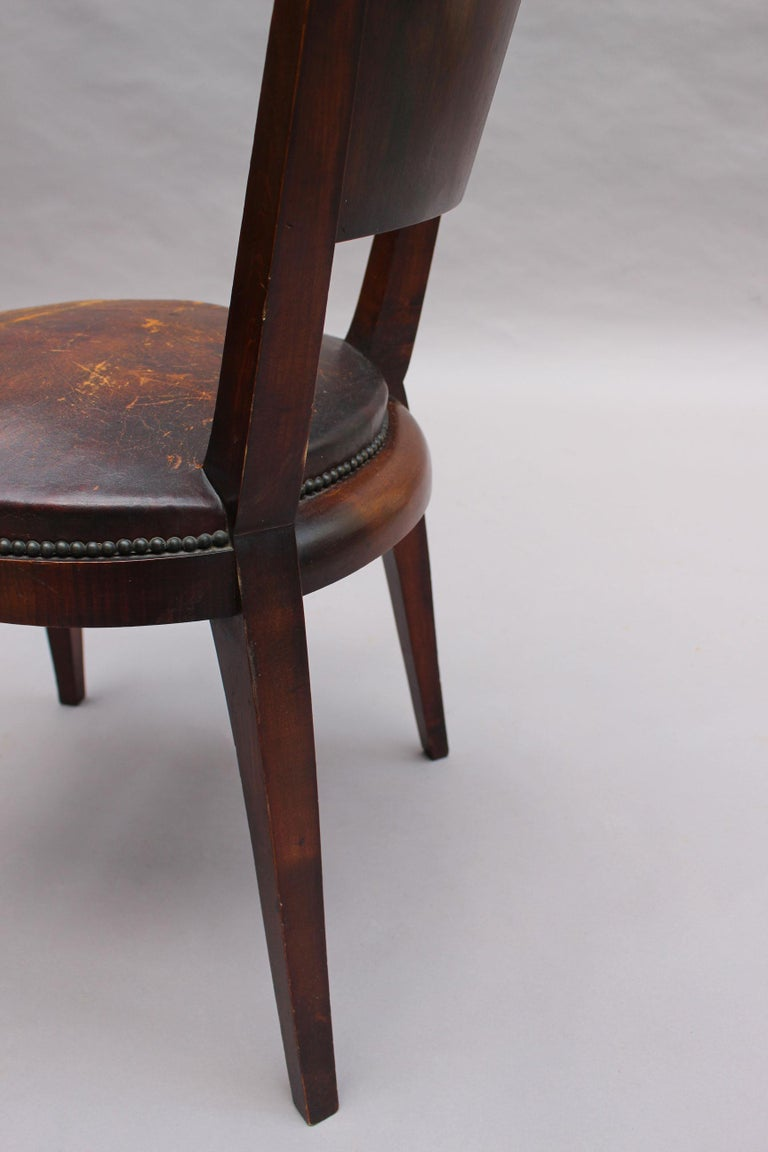 Set of 6 French Art Deco Palissander and Stained Wood Dining Chairs For Sale 8