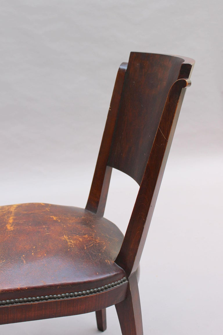 Set of 6 French Art Deco Palissander and Stained Wood Dining Chairs For Sale 9