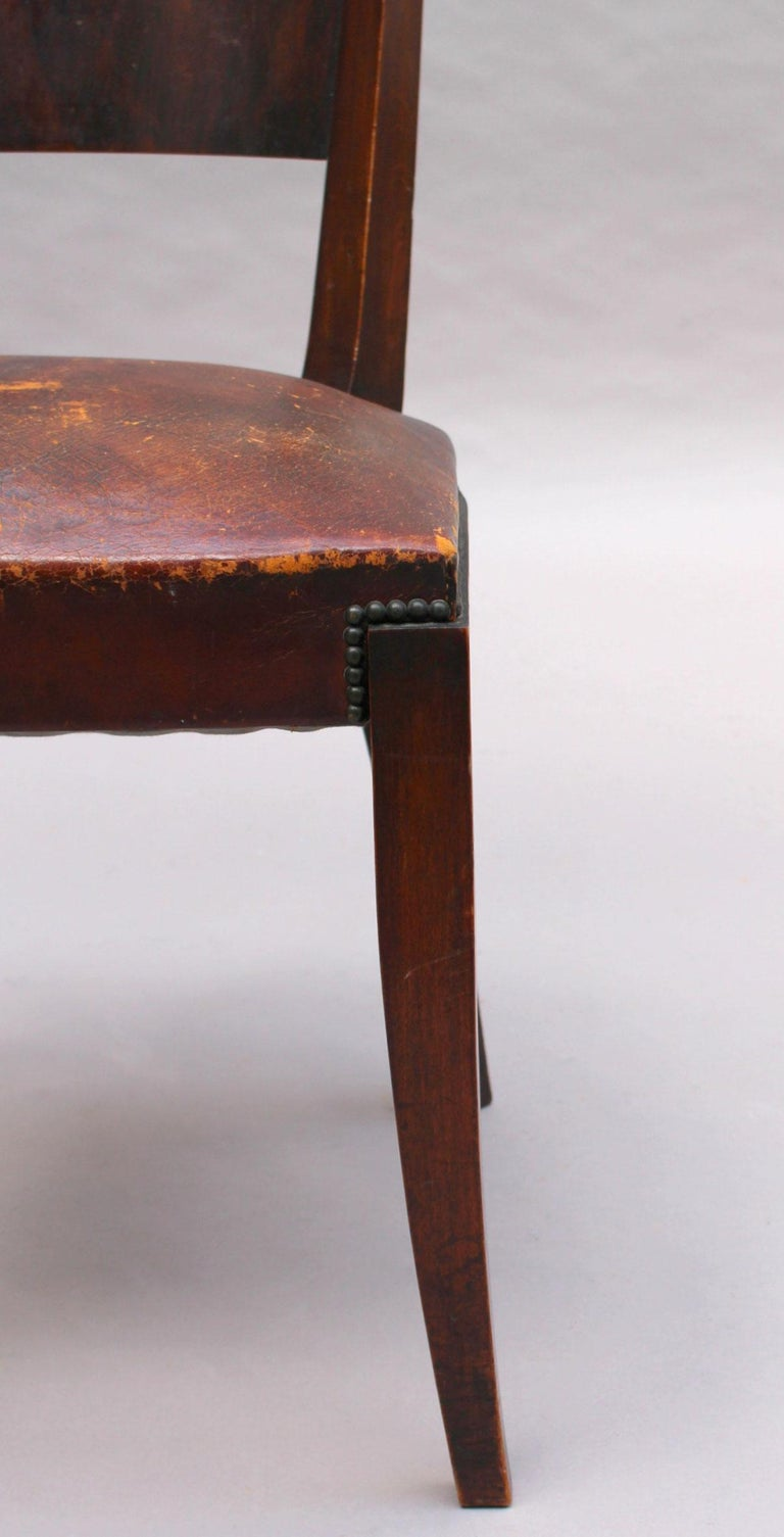 Set of 6 French Art Deco Palissander and Stained Wood Dining Chairs For Sale 13