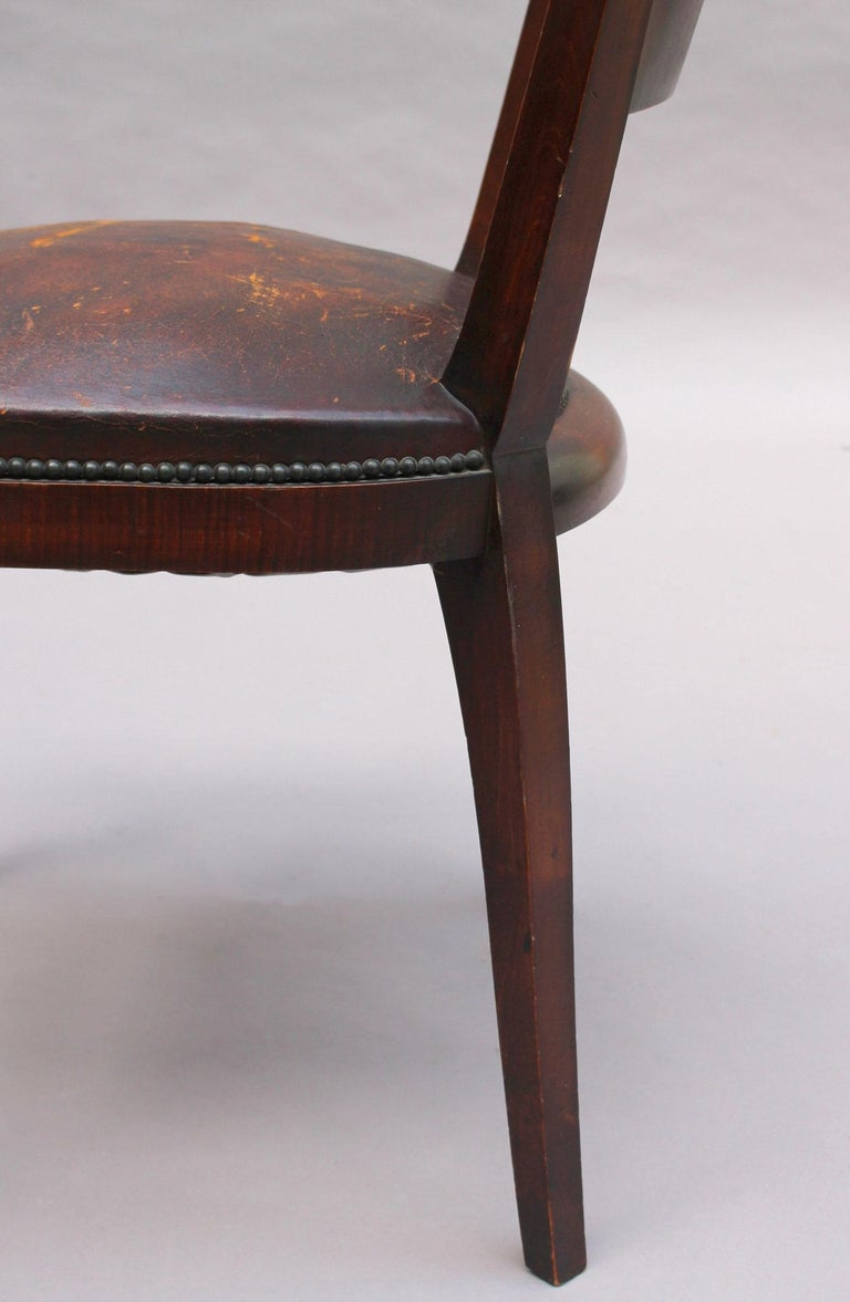 Set of 6 French Art Deco Palissander and Stained Wood Dining Chairs For Sale 14