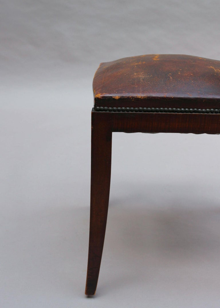 Set of 6 French Art Deco Palissander and Stained Wood Dining Chairs For Sale 15