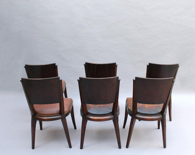 Set of 6 French Art Deco Palissander and Stained Wood Dining Chairs In Good Condition For Sale In Long Island City, NY
