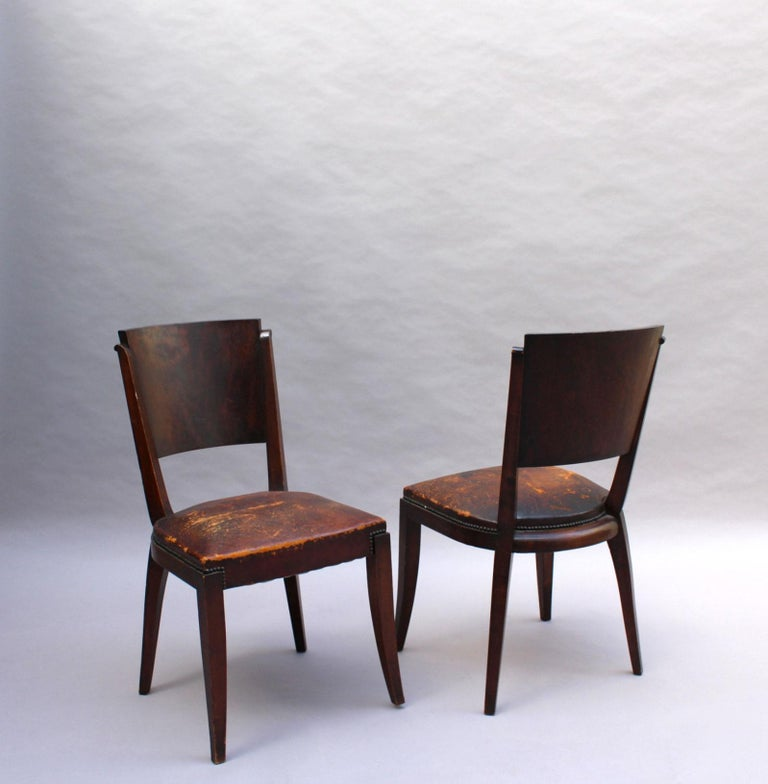 Set of 6 French Art Deco Palissander and Stained Wood Dining Chairs For Sale 1