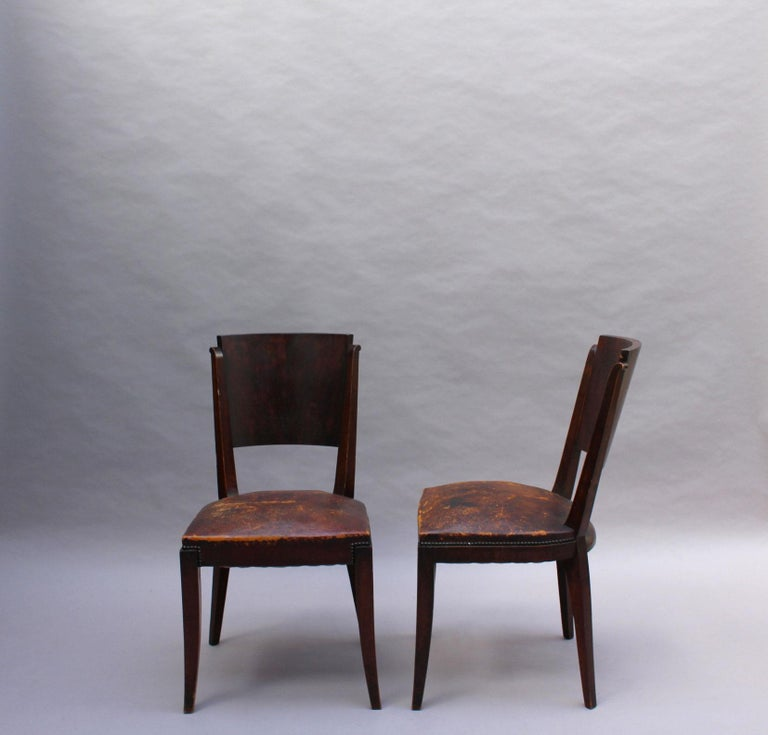 Set of 6 French Art Deco Palissander and Stained Wood Dining Chairs For Sale 2
