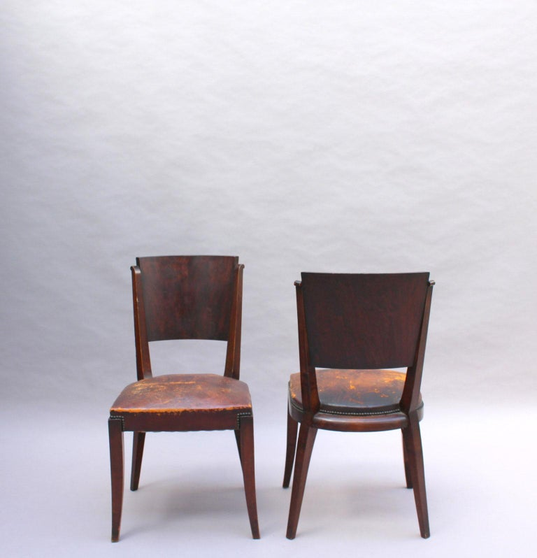 Set of 6 French Art Deco Palissander and Stained Wood Dining Chairs For Sale 3