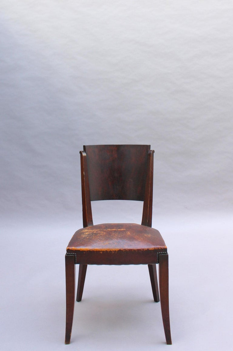 Set of 6 French Art Deco Palissander and Stained Wood Dining Chairs For Sale 4