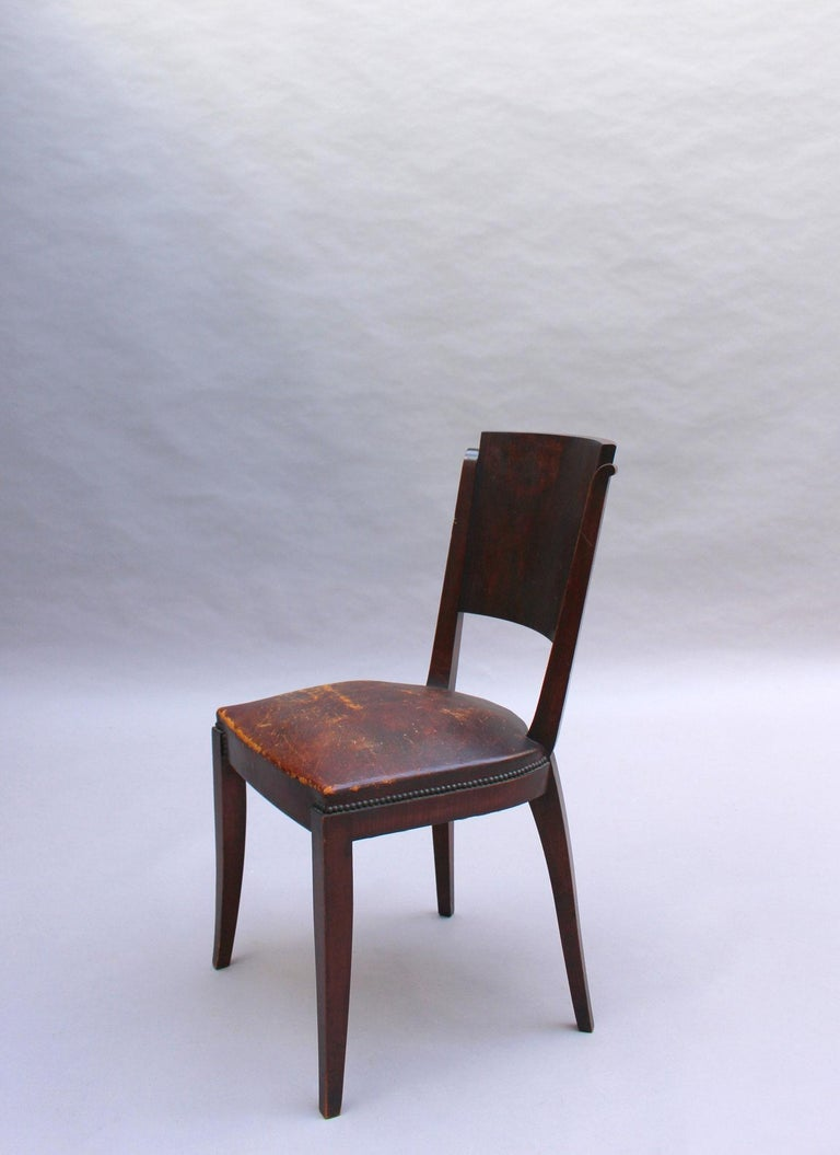Set of 6 French Art Deco Palissander and Stained Wood Dining Chairs For Sale 5