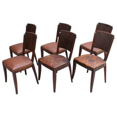 Set of 6 French Art Deco Palissander and Stained Wood Dining Chairs