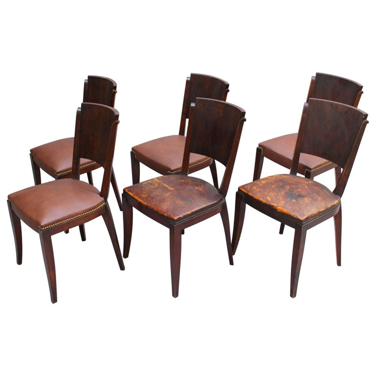 Set of 6 French Art Deco Palissander and Stained Wood Dining Chairs For Sale