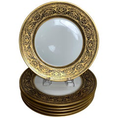 Set of 6 French Black and Gold Service Dinner Plates
