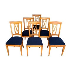 Set of 6 French Cherrywood Dining Chairs Attributed to Baptistin Spade