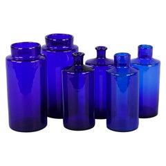 Set of 6 French Cobalt Blue Pharmacy Bottles, 1930s