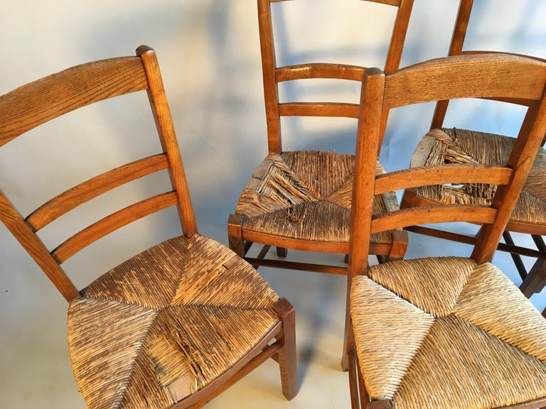A set of 6 French Country ladder back chairs in elm with rush seats.