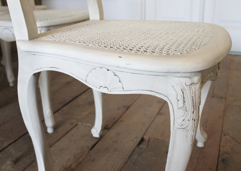 Set of 6 French Country Louis XV Style Cane Back Dining Chairs For Sale 6