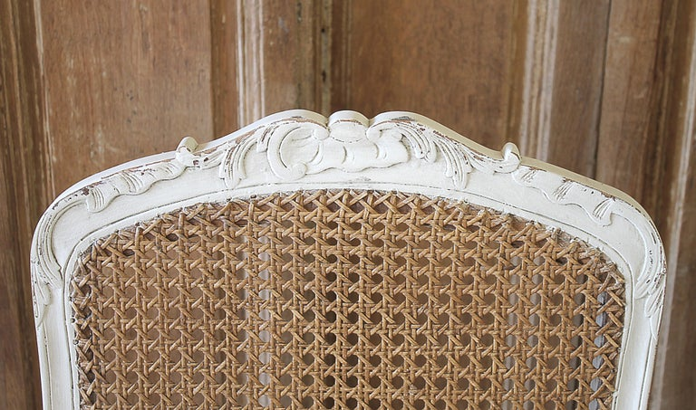 Linen Set of 6 French Country Louis XV Style Cane Back Dining Chairs For Sale
