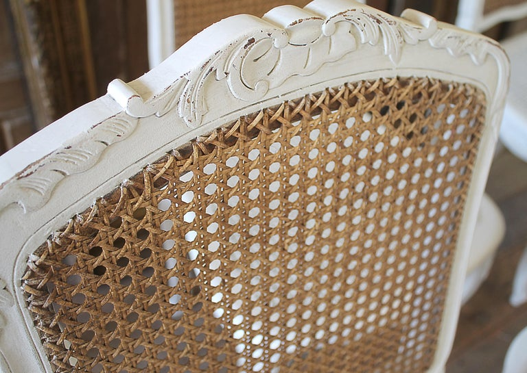 Set of 6 French Country Louis XV Style Cane Back Dining Chairs For Sale 1
