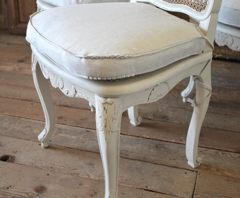 Set of 6 French Country Louis XV Style Cane Back Dining Chairs For Sale 3