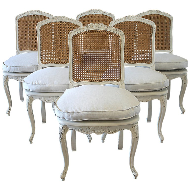 Set Of 6 French Country Louis Xv Style Cane Back Dining Chairs For