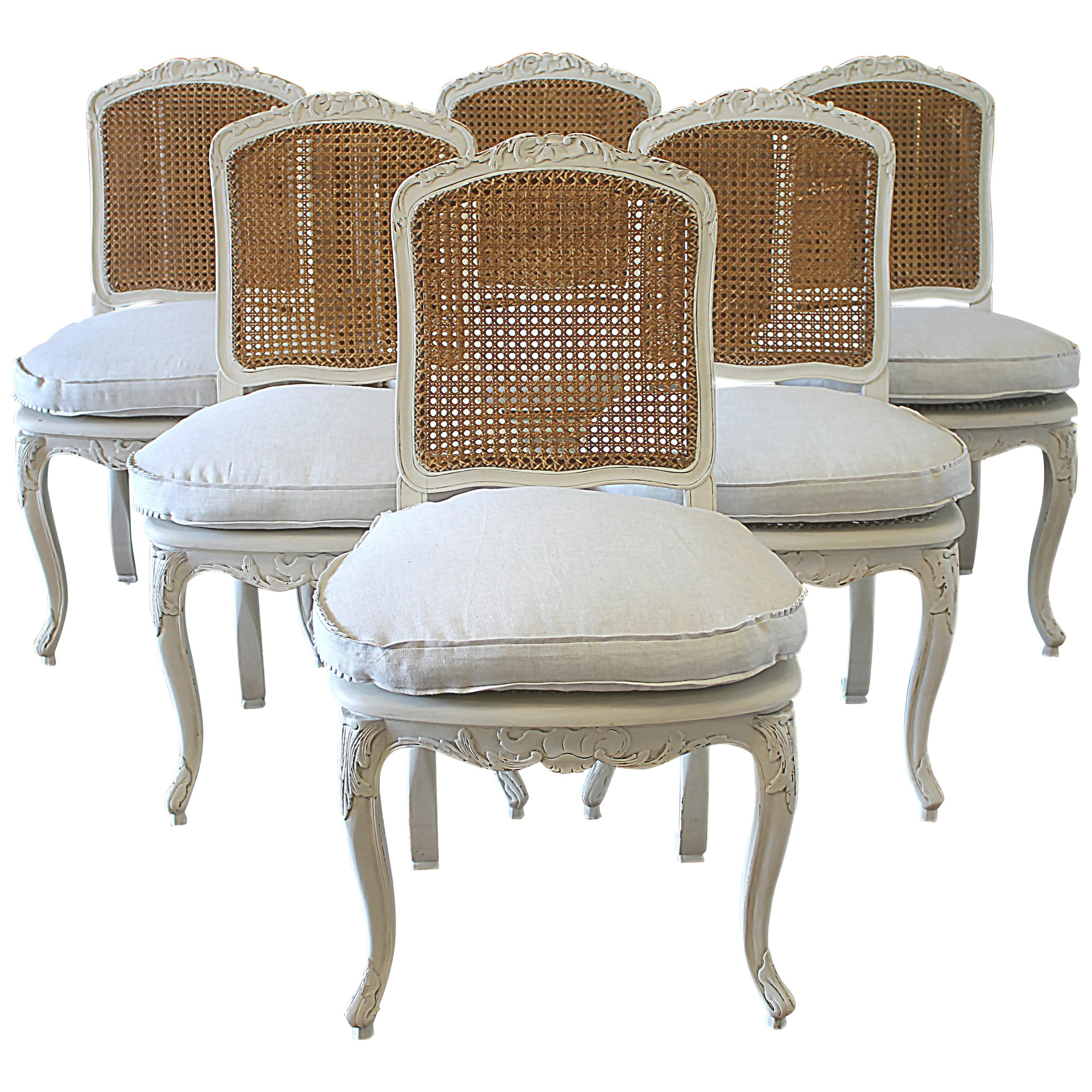 Set Of 6 French Country Louis XV Style Cane Back Dining Chairs For Sale