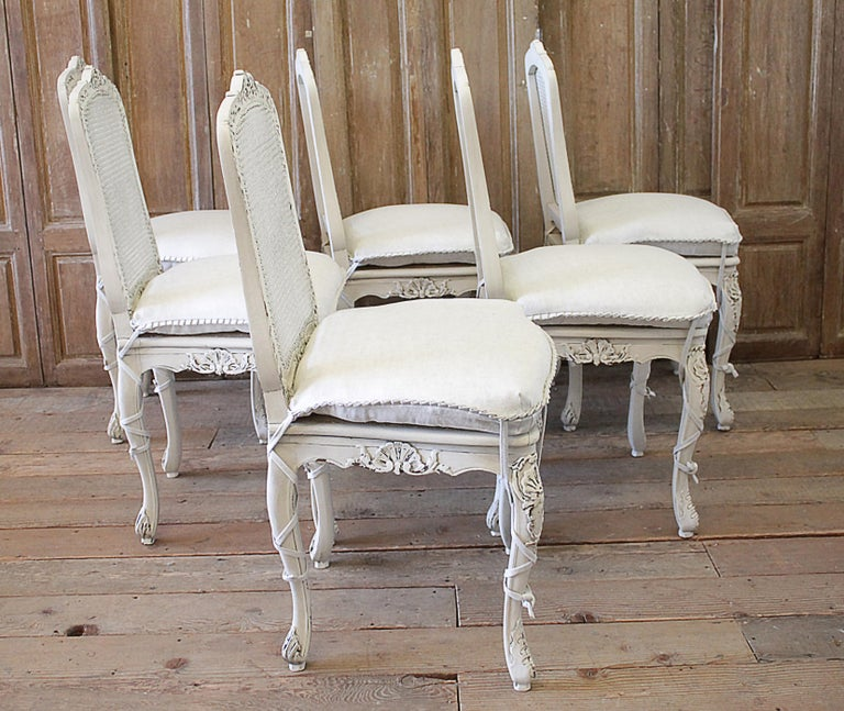 Set Of 4 Country Cream Dining Chairs: Set Of 4 French Country Painted Cane Back Dining Chairs At