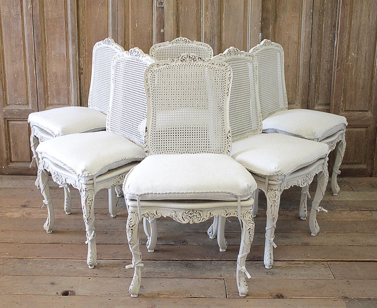 Set Of 4 French Country Painted Cane Back Dining Chairs At