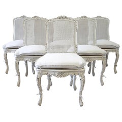 Set of 6 French Country Painted Cane Back Dining Chairs