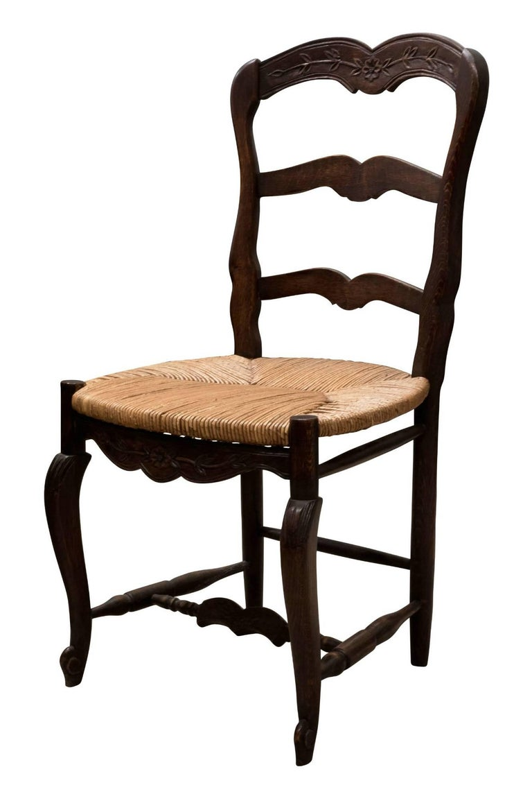 Set of 6 French Ladder Back Chairs c1920 In Good Condition For Sale In Salisbury, GB