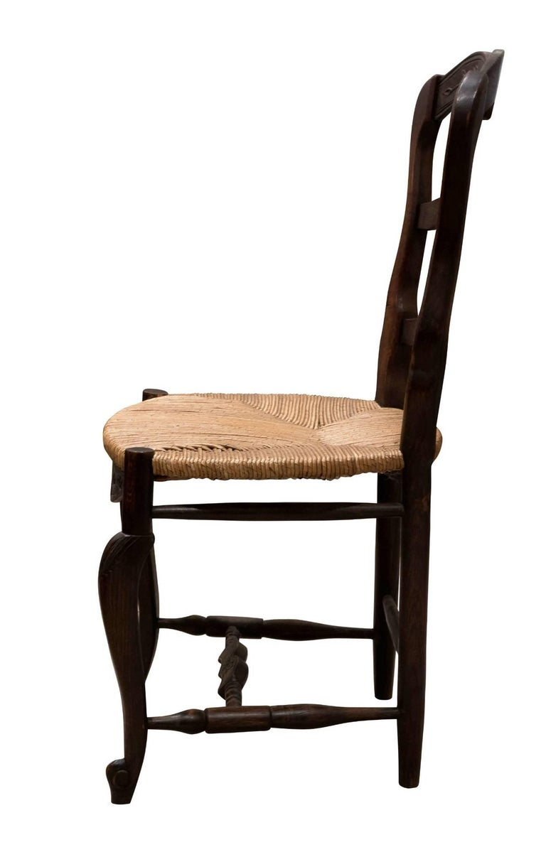Early 20th Century Set of 6 French Ladder Back Chairs c1920 For Sale