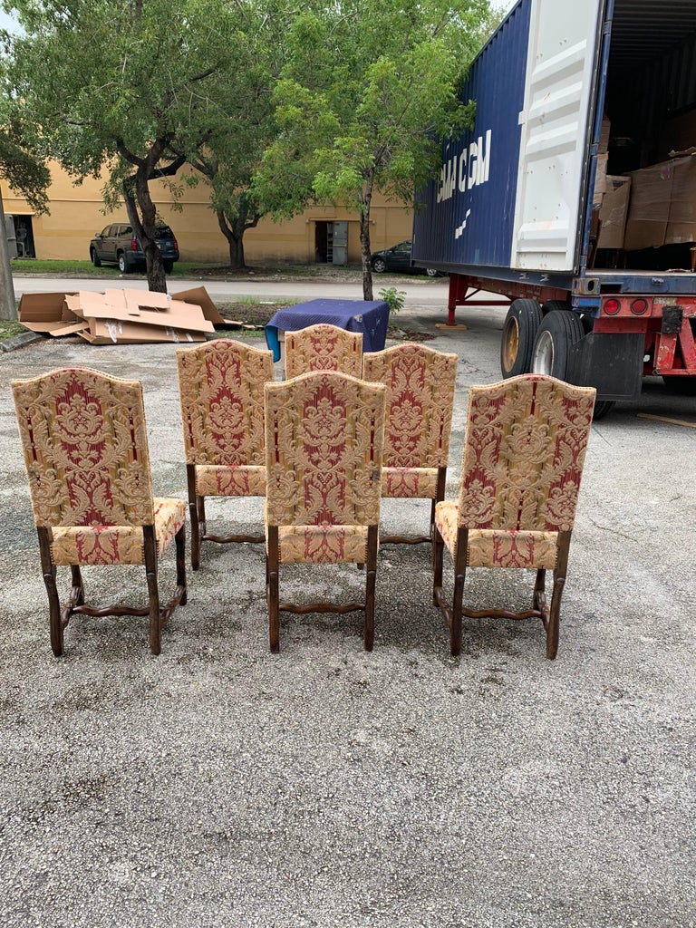 Set of 6  French Louis XIII Style Os De Mouton Dining Chairs, 1900s For Sale 5