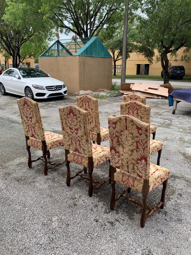 Set of 6  French Louis XIII Style Os De Mouton Dining Chairs, 1900s For Sale 6
