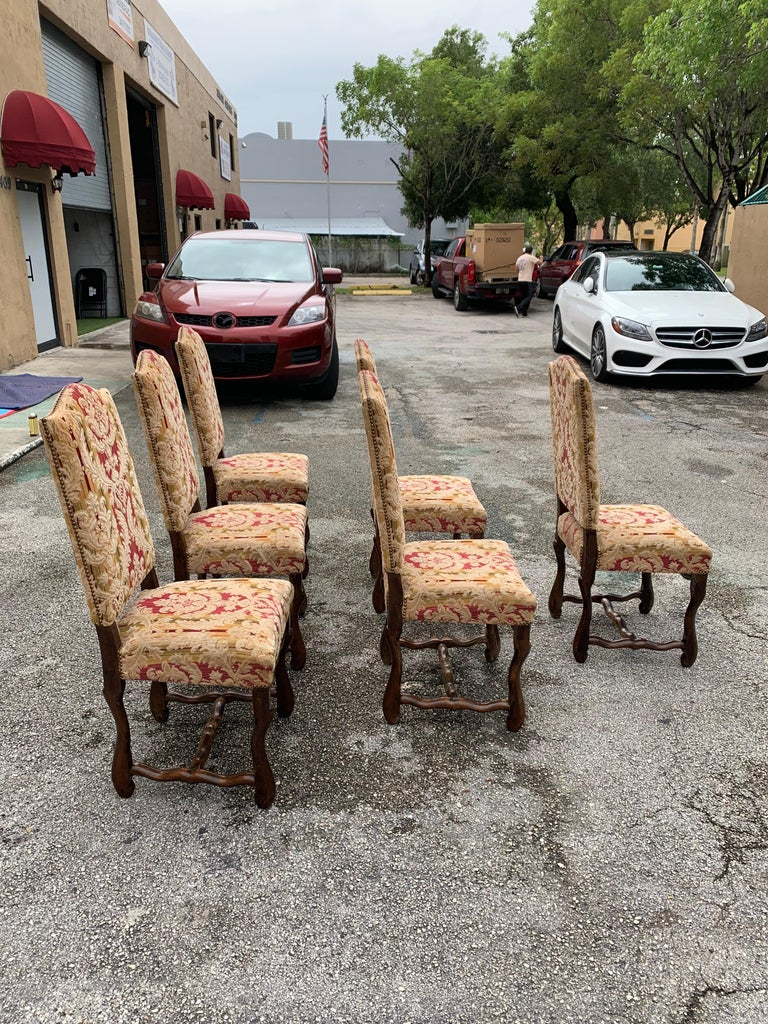 Set of 6  French Louis XIII Style Os De Mouton Dining Chairs, 1900s For Sale 7