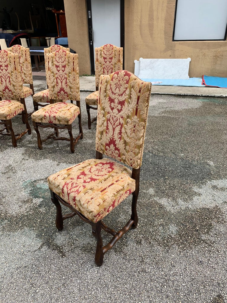 Set of 6  French Louis XIII Style Os De Mouton Dining Chairs, 1900s For Sale 8