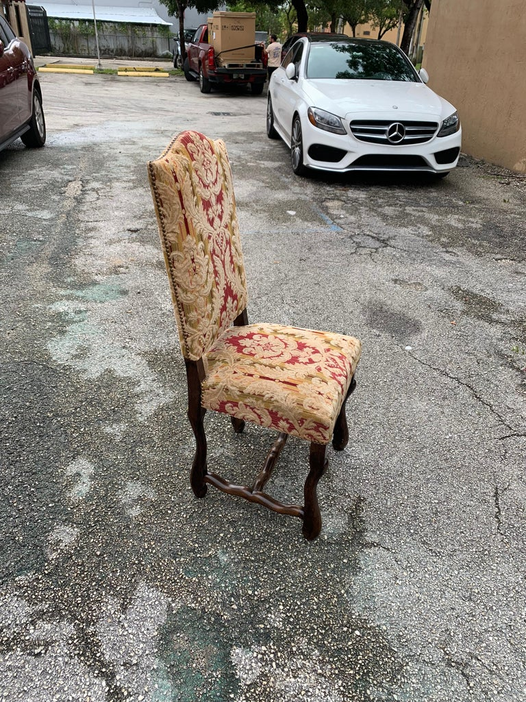Set of 6  French Louis XIII Style Os De Mouton Dining Chairs, 1900s For Sale 10