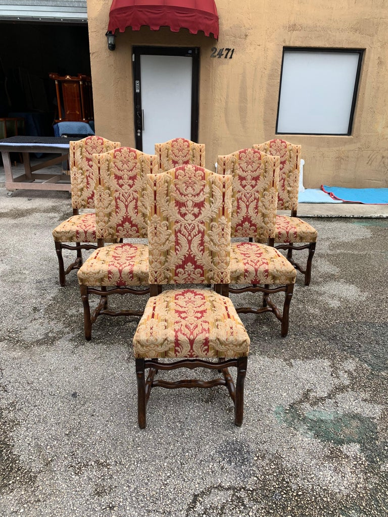 Set of 6  French Louis XIII Style Os De Mouton Dining Chairs, 1900s In Good Condition For Sale In Hialeah, FL