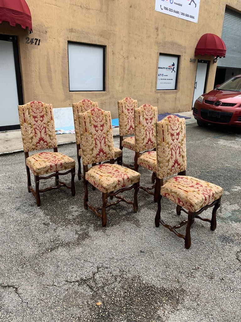 Early 20th Century Set of 6  French Louis XIII Style Os De Mouton Dining Chairs, 1900s For Sale