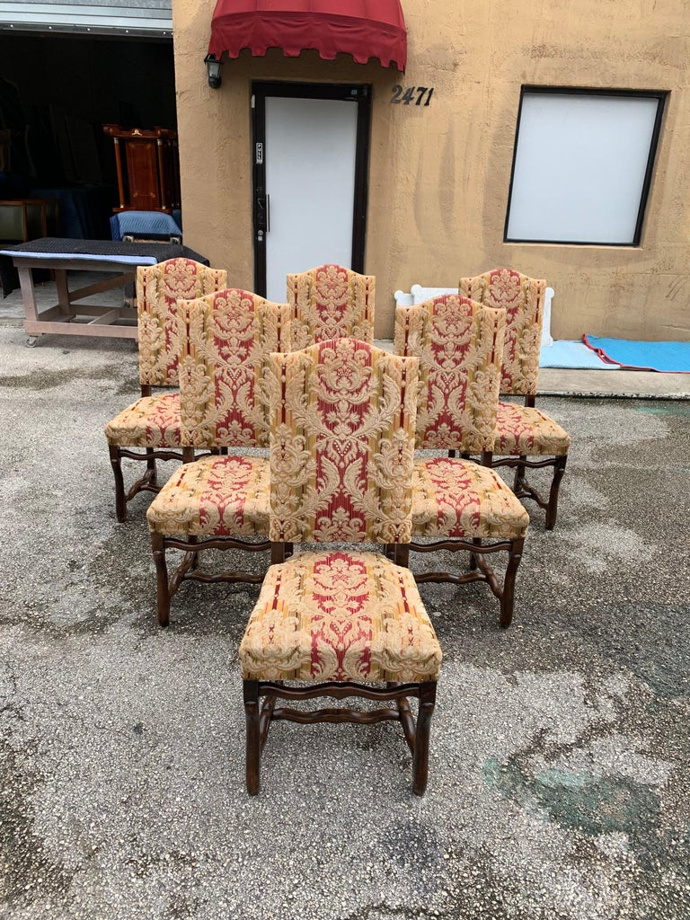 Fabric Set of 6  French Louis XIII Style Os De Mouton Dining Chairs, 1900s For Sale