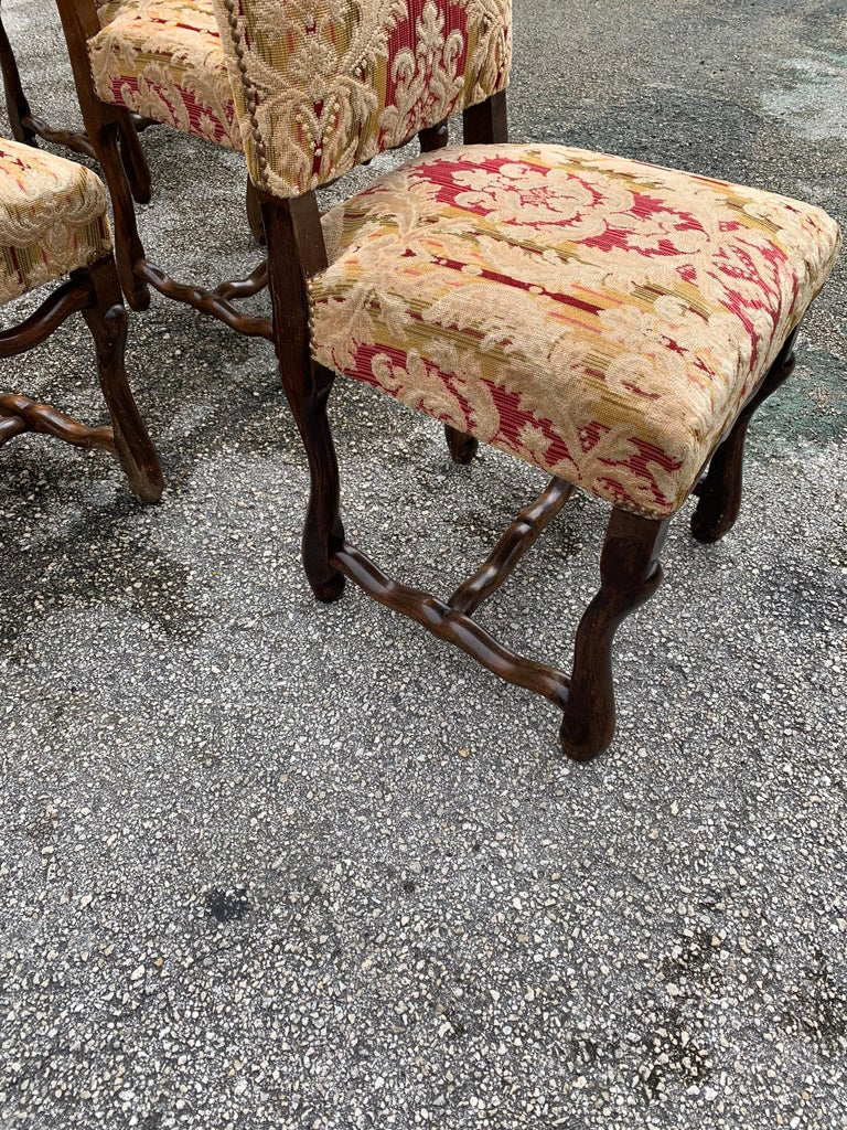 Set of 6  French Louis XIII Style Os De Mouton Dining Chairs, 1900s For Sale 1