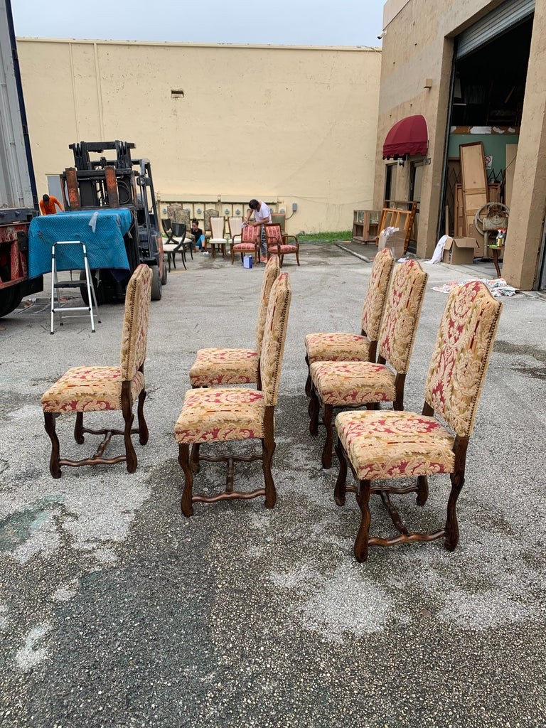 Set of 6  French Louis XIII Style Os De Mouton Dining Chairs, 1900s For Sale 2