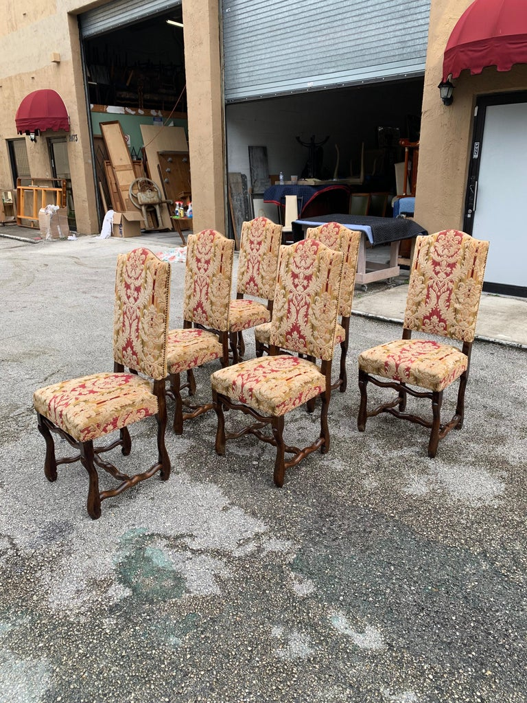 Set of 6  French Louis XIII Style Os De Mouton Dining Chairs, 1900s For Sale 3
