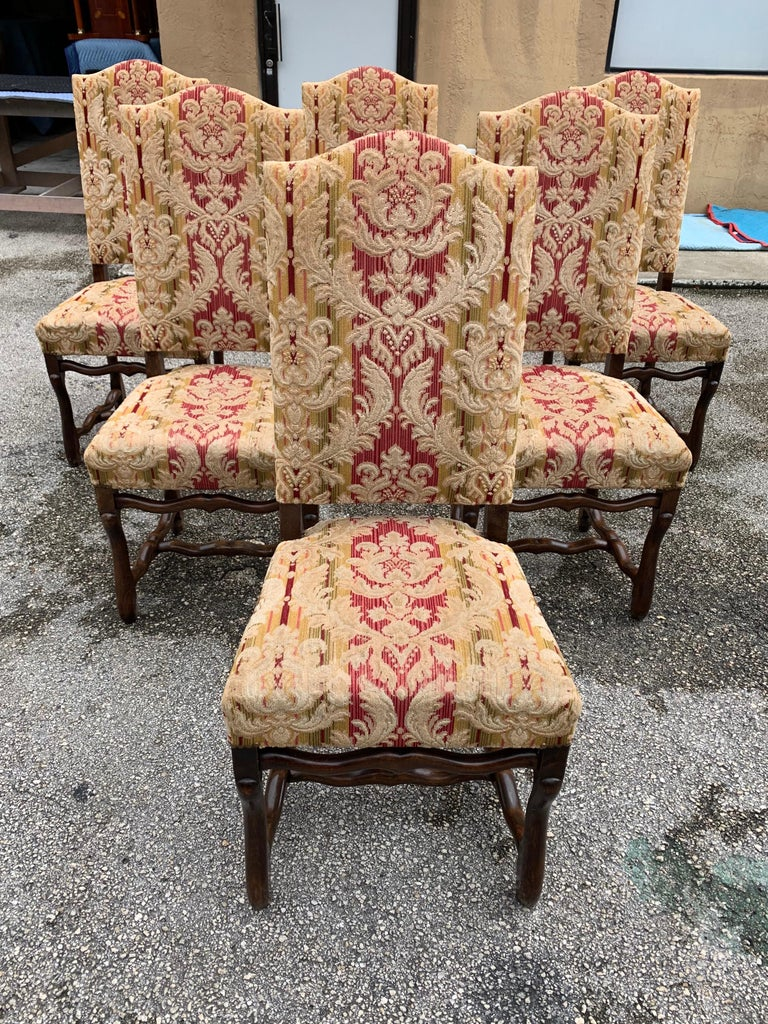 Set of 6  French Louis XIII Style Os De Mouton Dining Chairs, 1900s For Sale 4