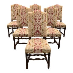 Set of 6  French Louis XIII Style Os De Mouton Dining Chairs, 1900s