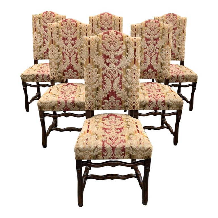 Set of 6  French Louis XIII Style Os De Mouton Dining Chairs, 1900s For Sale