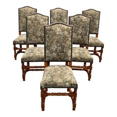 Set of 6 French Louis XIII Style Solid Walnut Dining Chairs 1900s