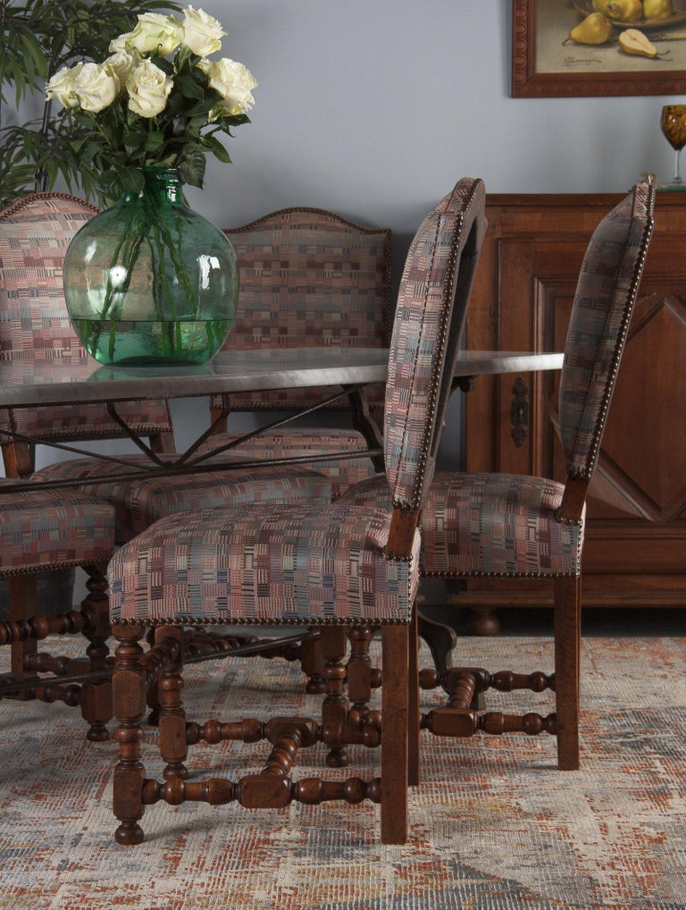 Set of 6 French Louis XIII Style Upholstered Walnut Chairs, 1920s For Sale 5