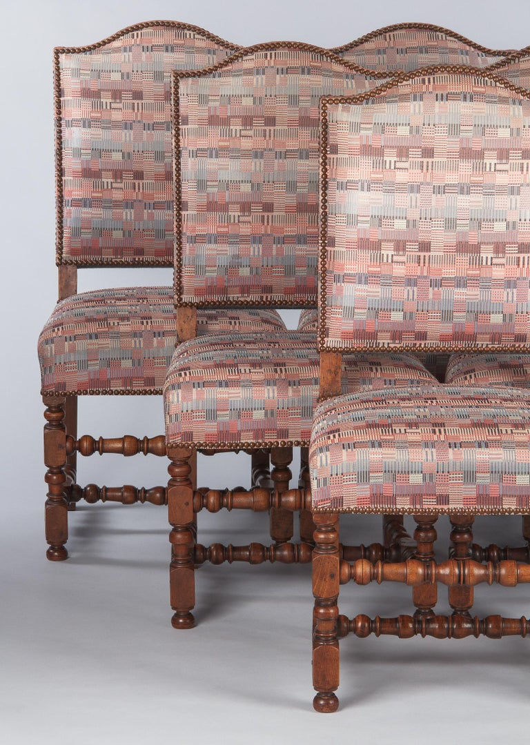 Set of 6 French Louis XIII Style Upholstered Walnut Chairs, 1920s For Sale 8
