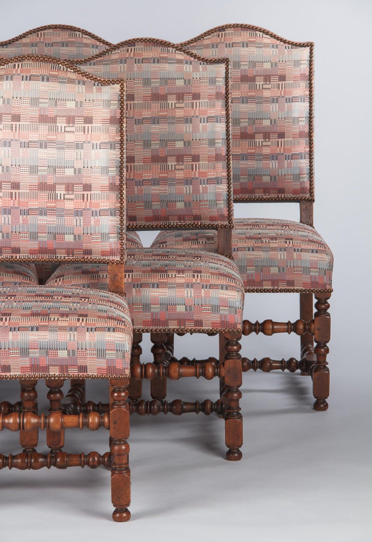 Set of 6 French Louis XIII Style Upholstered Walnut Chairs, 1920s For Sale 9