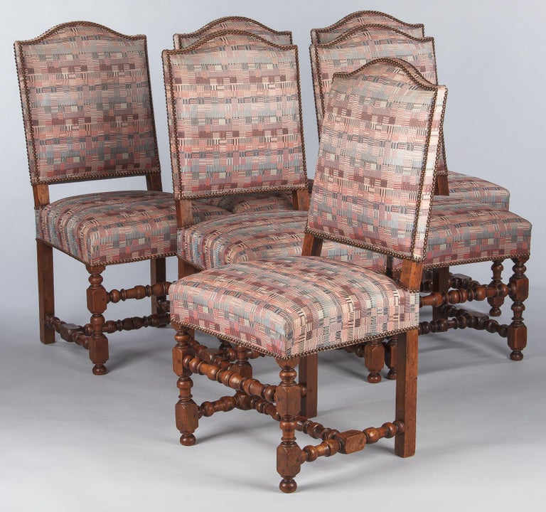Set of 6 French Louis XIII Style Upholstered Walnut Chairs, 1920s For Sale 10