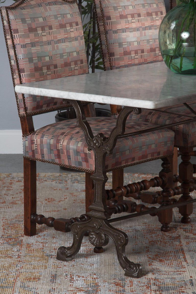Set of 6 French Louis XIII Style Upholstered Walnut Chairs, 1920s For Sale 11