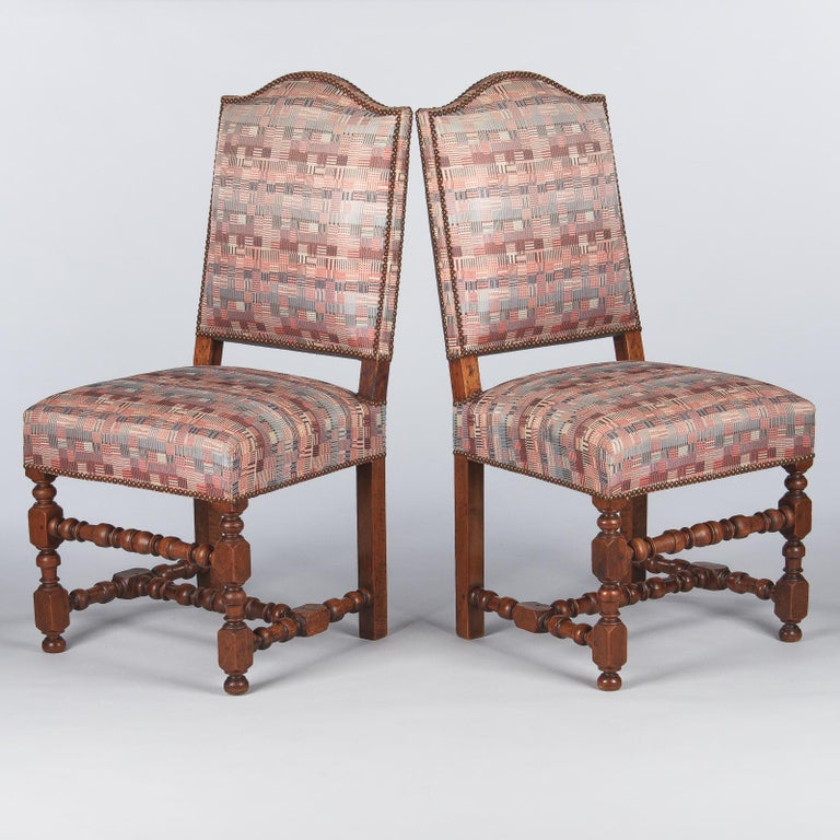 Set of 6 French Louis XIII Style Upholstered Walnut Chairs, 1920s In Good Condition For Sale In Austin, TX