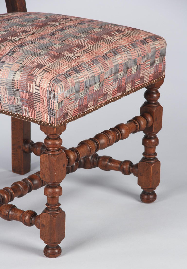 Fabric Set of 6 French Louis XIII Style Upholstered Walnut Chairs, 1920s For Sale
